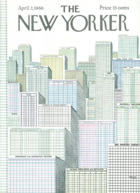 Urban City Manhattan New York City Skyscraper Skyscrapers Skyline Cityscape City Scene Anatole Kovarsky Ako Sumnerok Anatol Kovarsky Ako Artkey 49892 Art Print featuring the painting New Yorker April 2nd, 1966 by Anatol Kovarsky