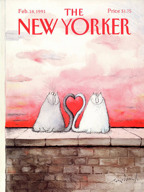 Two Cats Art Print featuring the painting New Yorker February 18th, 1991 by Ronald Searle
