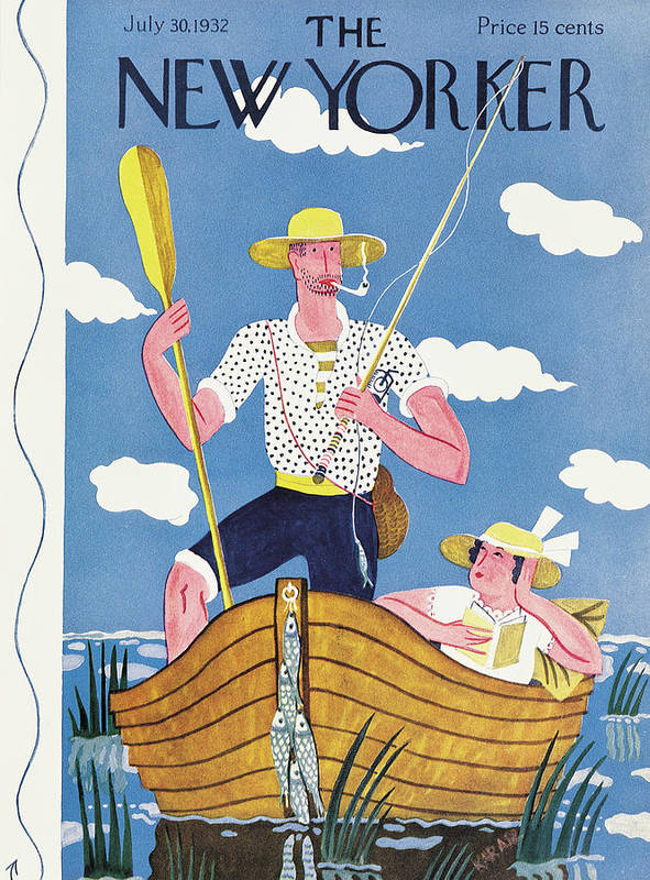 (a Proud Fisherman Stands In His Boat Art Print featuring the painting New Yorker July 30th, 1932 by Ilonka Karasz