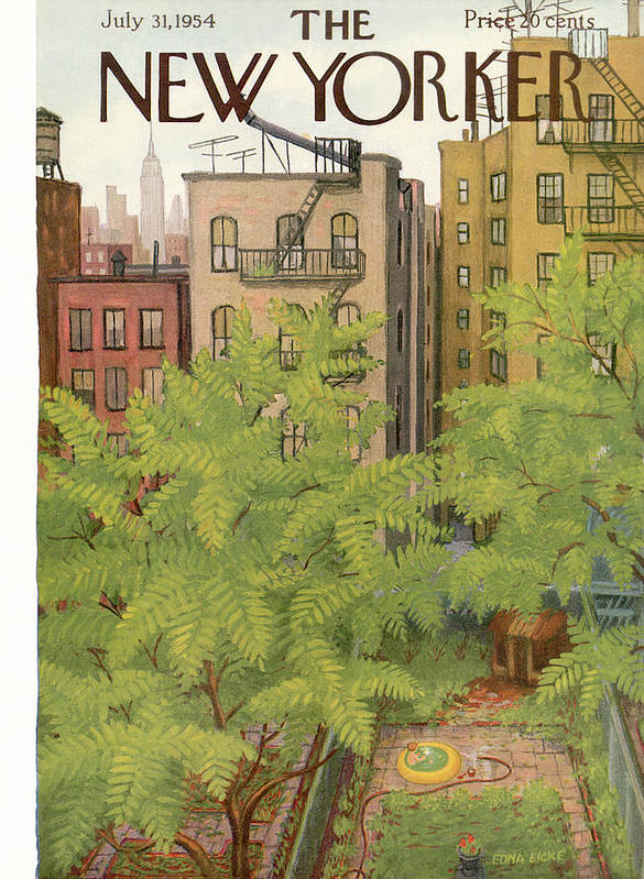 Urban Art Print featuring the painting New Yorker July 31st, 1954 by Edna Eicke