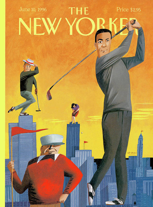 Tee Time Art Print featuring the painting New Yorker June 10th, 1996 by Mark Ulriksen
