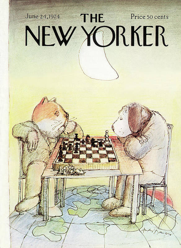 (an Elderly Cat And Dog Play Chess On Top Of The World. The Cat Is Winning.) Cats Dogs Animals Chess Leisure Earth Pets Competetion Games Andre Francois Andre Francois Fan Bodinbodin Artkey 47793 Art Print featuring the painting New Yorker June 24th, 1974 by Andre Francois