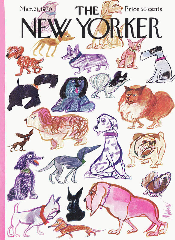 Animals Art Print featuring the painting New Yorker March 21st, 1970 by Kenneth Mahood