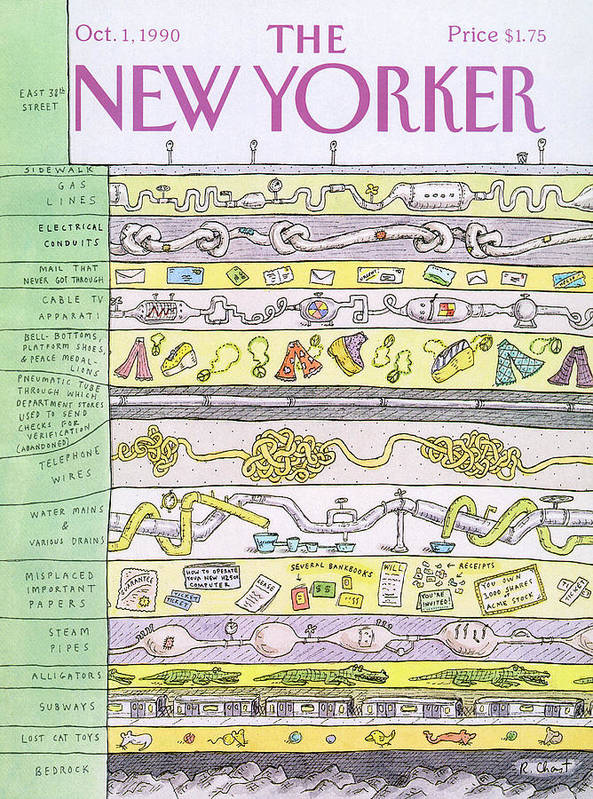 (a View Beneath East 38th Street Shows Layers Of Gas Lines Art Print featuring the painting New Yorker October 1st, 1990 by Roz Chast