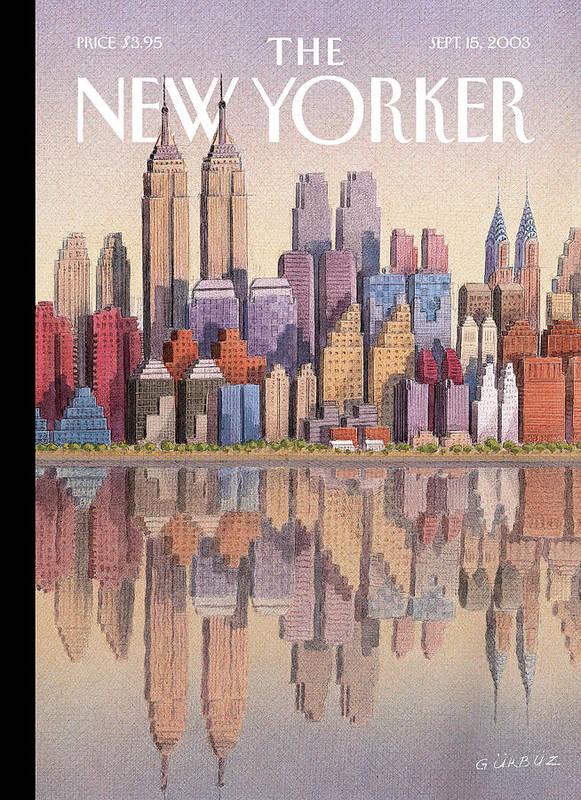 Twin Towers New York City Regional Empire State Building World Trade Center Twintowers Wtc Gek Gurbuz Dogan Eksioglu   Art Print featuring the painting New Yorker September 15th, 2003 by Gurbuz Dogan Eksioglu