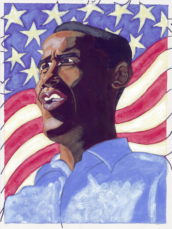Obama Art Print featuring the painting Obama by Isaac Walker