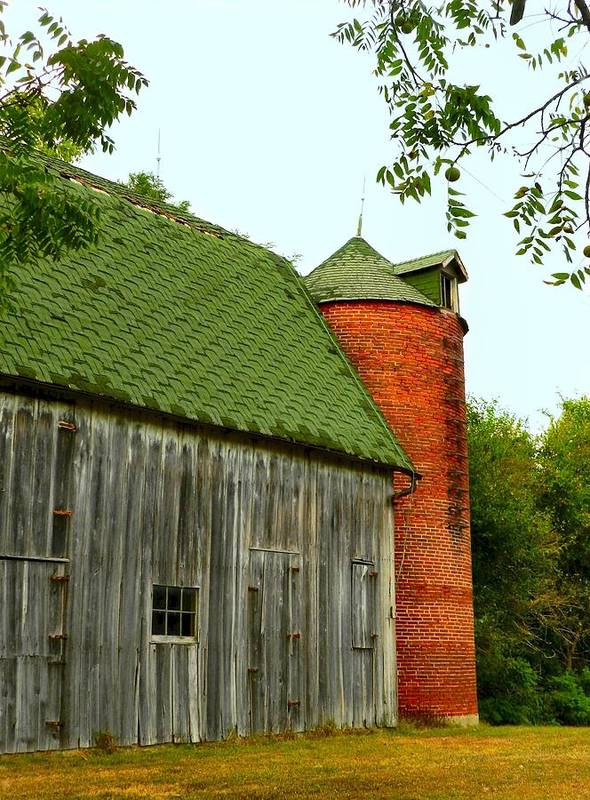 Old Barns Art Print featuring the photograph Old Barn With Brick Silo II by Julie Dant