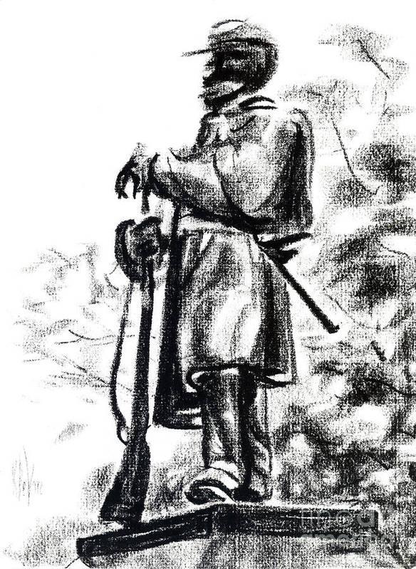 On Duty In Brigadoon No Ch101 Art Print featuring the drawing On Duty In Brigadoon No Ch101 by Kip DeVore
