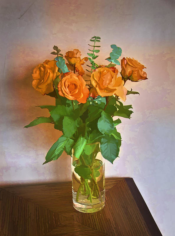 Roses Print featuring the photograph Orange And Green by John Hansen