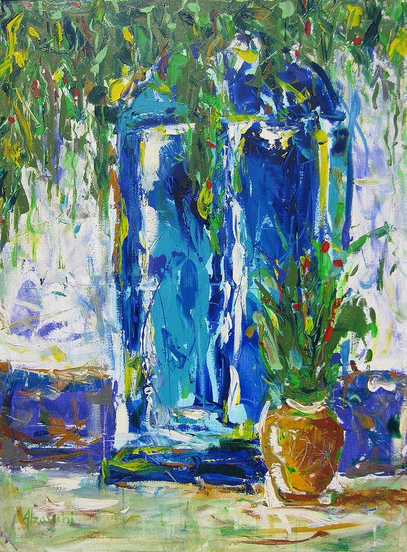 Contemporary Art Print featuring the painting Our Blue Door by Khalid Alzayani