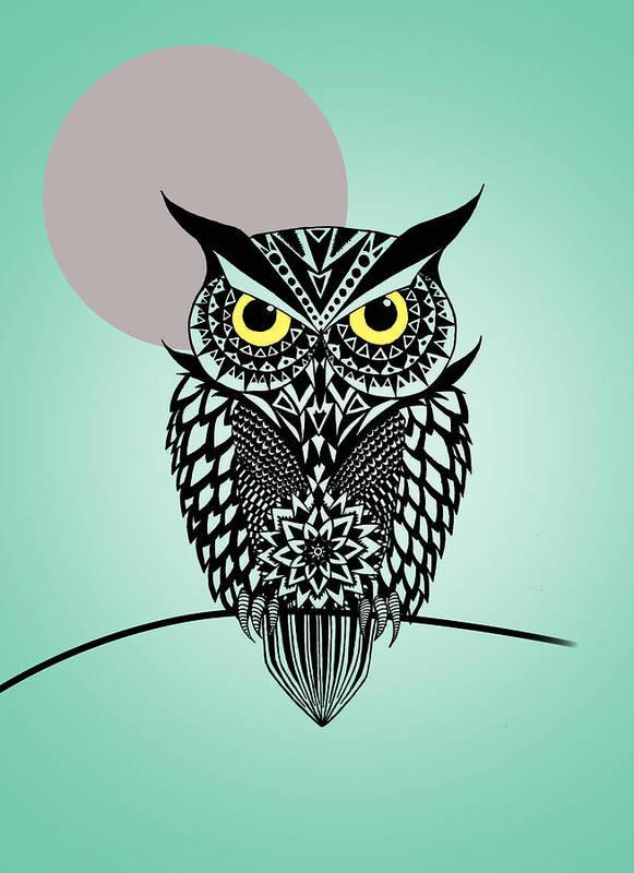 Owl Art Print featuring the digital art Owl 5 by Mark Ashkenazi