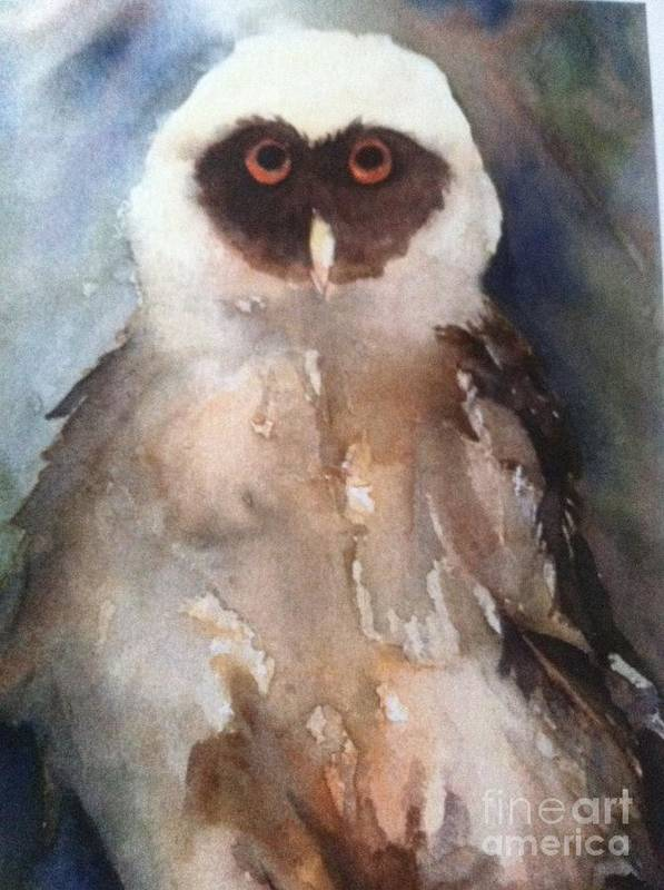 Owl Art Print featuring the painting Owl by Sherry Harradence
