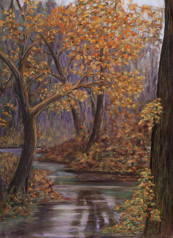 Landscape Of Fall Trees Canvas Print Art Print featuring the painting Padden Creek Fog by Pamela Heward