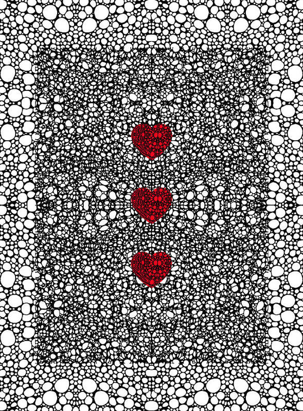 Lace Art Print featuring the painting Pattern 34 - Heart Art - Black And White Exquisite Patterns By Sharon Cummings by Sharon Cummings