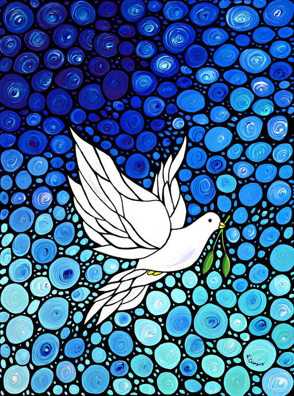 Christmas Print featuring the painting Peaceful Journey - White Dove Peace Art by Sharon Cummings