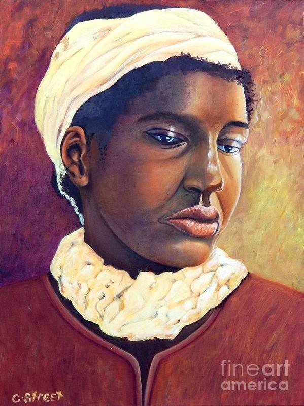 Portrait Art Print featuring the painting Pensive Contemplation by Caroline Street
