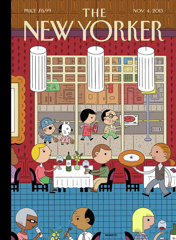 Fast Food Art Print featuring the painting People Enjoying Dinner In The City by Ivan Brunetti