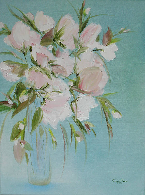 Flowers Art Print featuring the painting Pink Petals by Judith Rhue