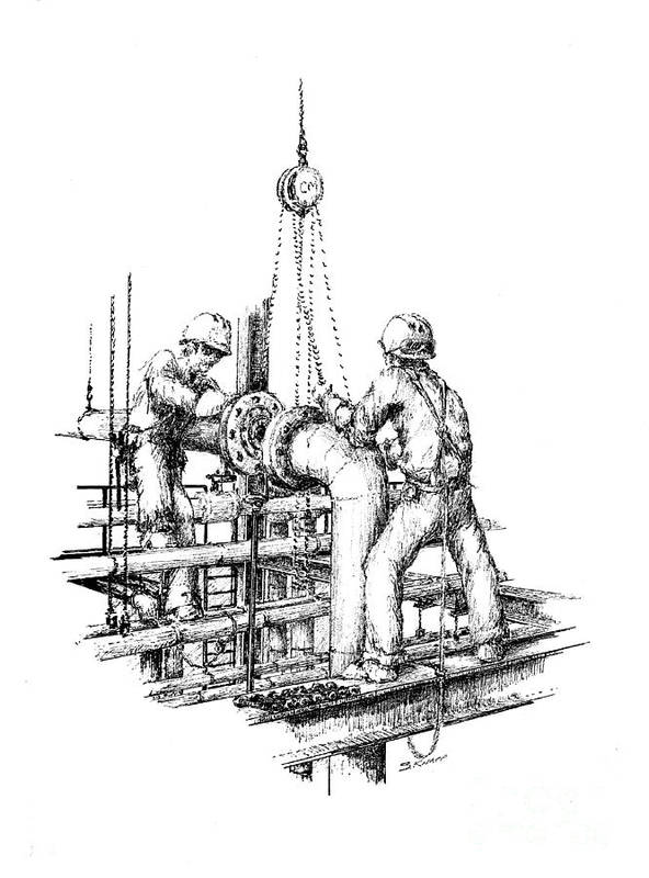 Pipefitters Art Print featuring the drawing Pipefitters by Steve Knapp