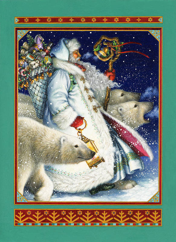 Santa Claus Art Print featuring the painting Polar Magic by Lynn Bywaters