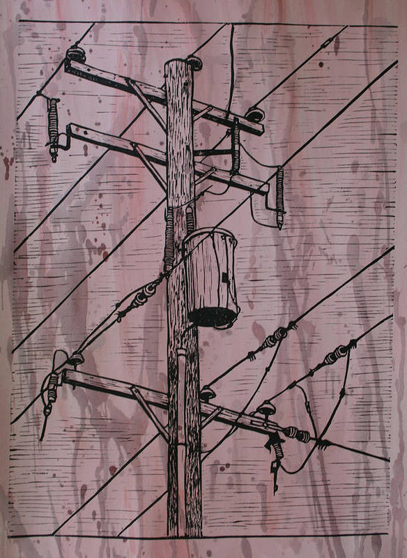 Lino Print featuring the drawing Pole With Transformer by William Cauthern