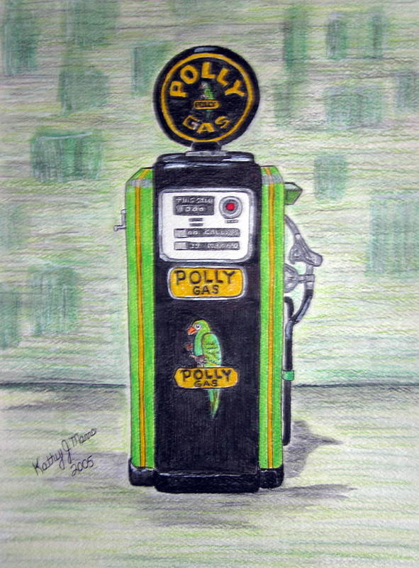 Parrot Art Print featuring the painting Polly Gas Pump by Kathy Marrs Chandler