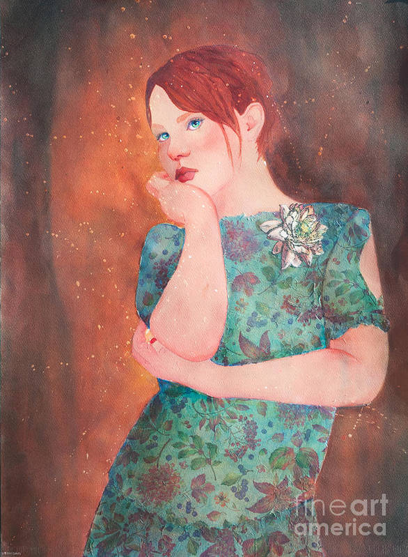 Girl Art Print featuring the mixed media Pondering by Sherry Davis