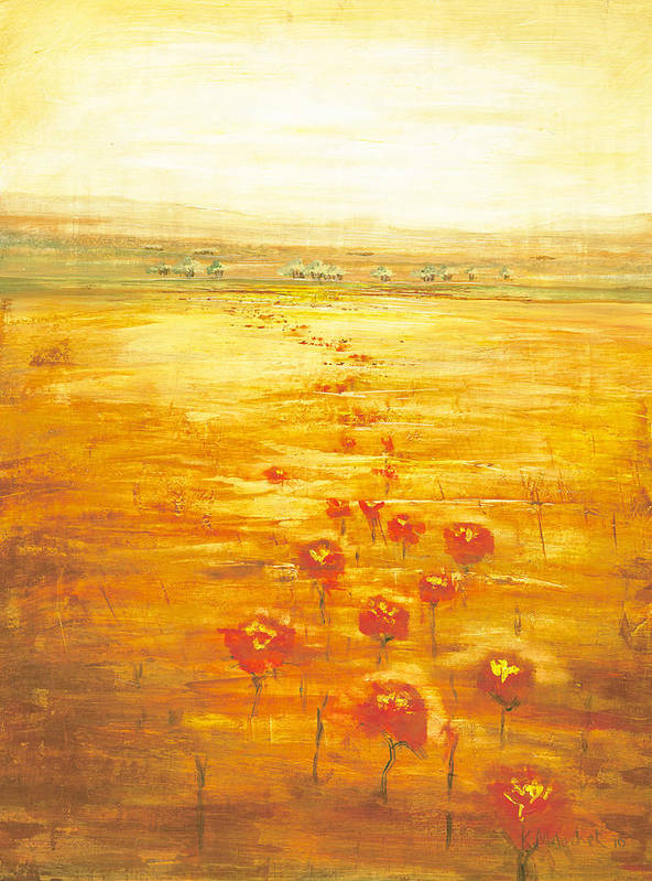 Abstract Art Print featuring the painting Poppy Fields Forever by Kaata  Mrachek