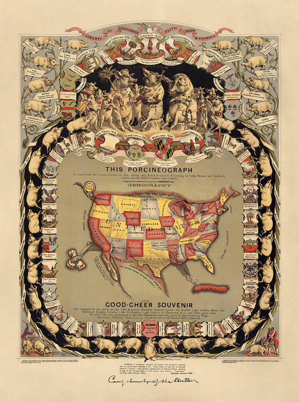 United States Art Print featuring the drawing Pork Map Of The United States From 1876 by Blue Monocle