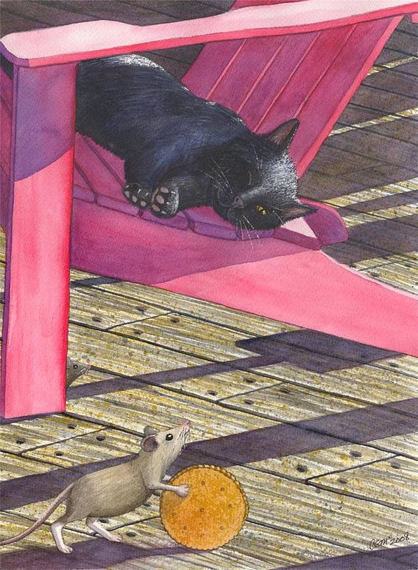 Cat Art Print featuring the painting Precarious by Catherine G McElroy