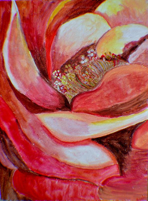 Hybrid Rose Art Print featuring the painting Promise Of Love by Sonali Gangane