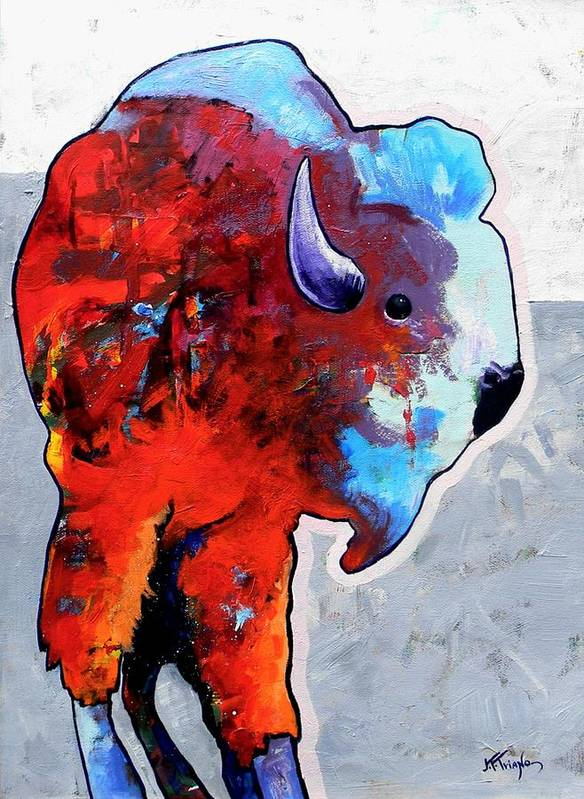 Wildlife Art Print featuring the painting Rainbow Warrior Bison by Joe Triano