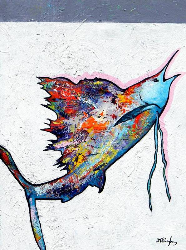 Wildlife Art Print featuring the painting Rainbow Warrior - Sailfish by Joe Triano