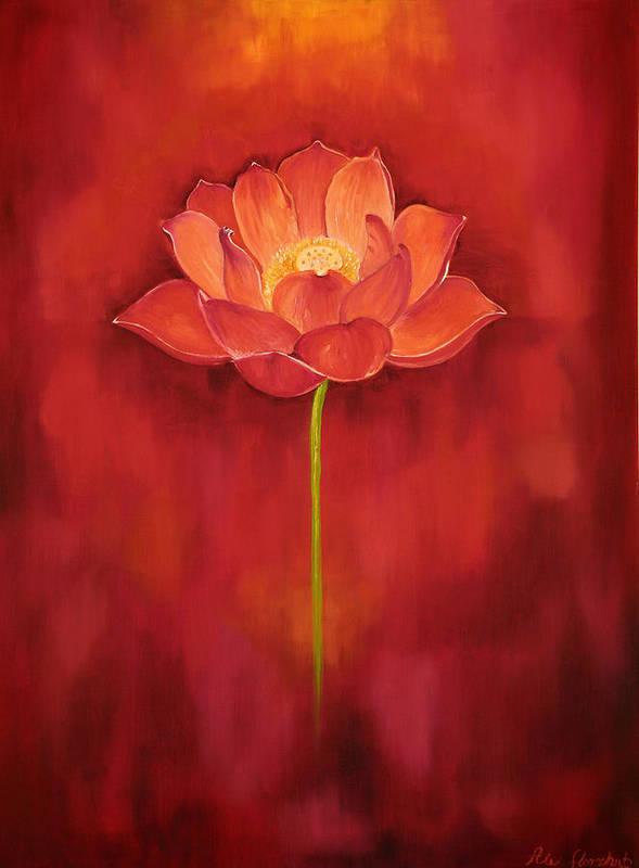 Red Lotus Art Print By Alexandra Florschutz