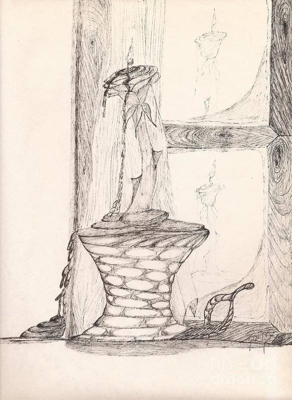 Pen And Ink Art Print featuring the drawing Reflections... by Robert Meszaros