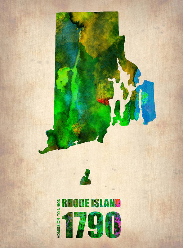 Rhode Island Print featuring the digital art Rhode Island Watercolor Map by Naxart Studio