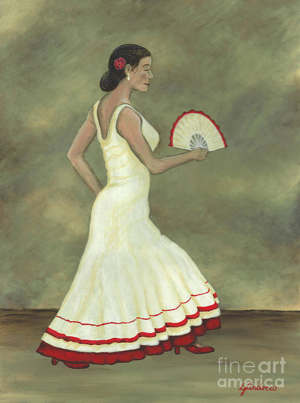 Flamenco Art Print featuring the painting Romani Step by Gareth Andrew