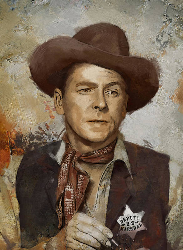 Rancho Del Cielo Print featuring the painting Ronald Reagan Portrait 4 by Corporate Art Task Force