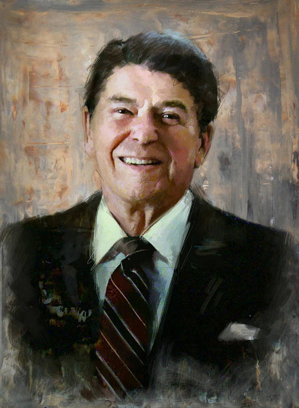Rancho Del Cielo Art Print featuring the painting Ronald Reagan Portrait 7 by Corporate Art Task Force