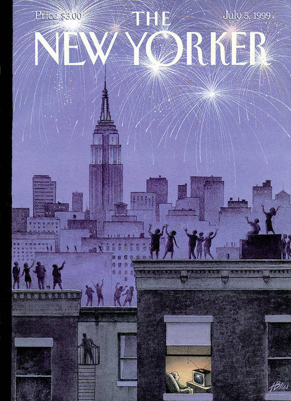 Harry Bliss Hbl Art Print featuring the painting Rooftop Revelers Celebrate New Year's Eve by Harry Bliss