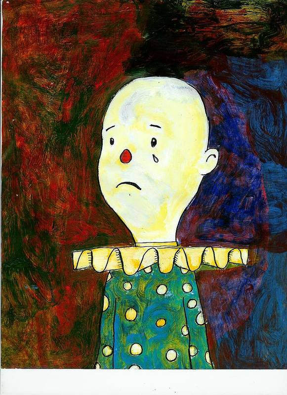Sad Art Print featuring the painting Sad Clown by David Lovins
