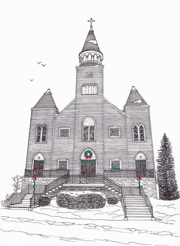 Architectural Drawing Art Print featuring the drawing Saint Bridget's Church At Christmas by Michelle Welles