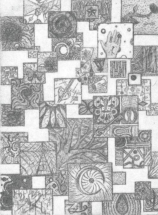 Geometric Print featuring the drawing Schizo by Ty DAvila