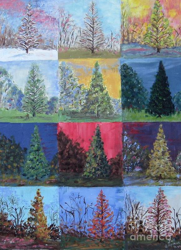 Trees With Different Backgrounds Art Print featuring the painting Seasons Of A Dawn Redwood - Sold by Judith Espinoza