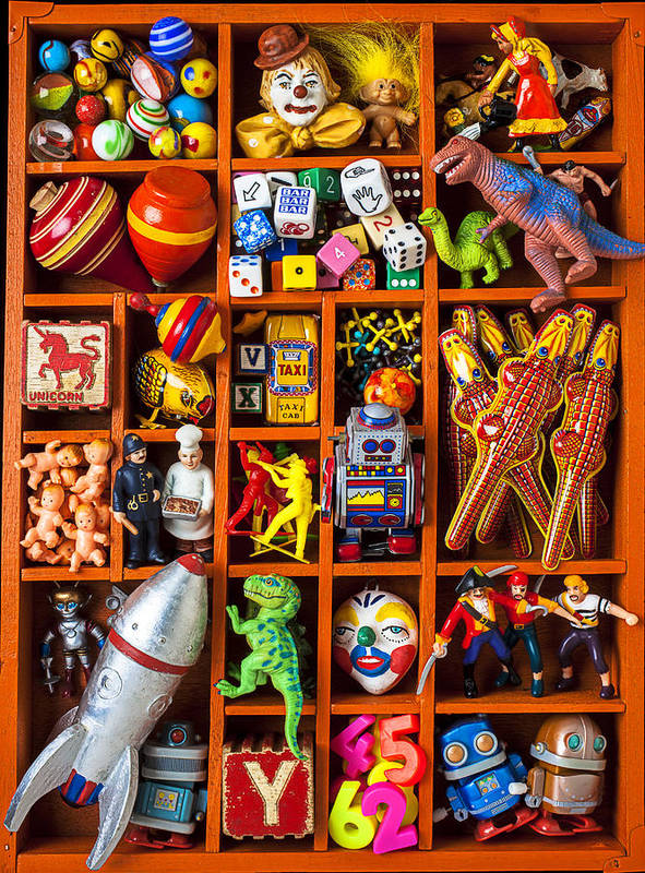 Shadow Art Print featuring the photograph Shadow Box Full Of Toys by Garry Gay