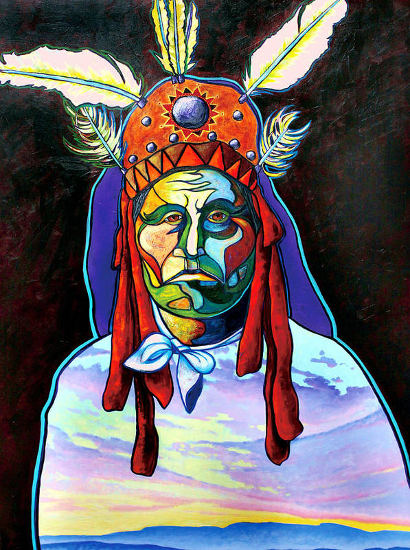 American Indian Art Print featuring the painting Shamans Power by Joe Triano