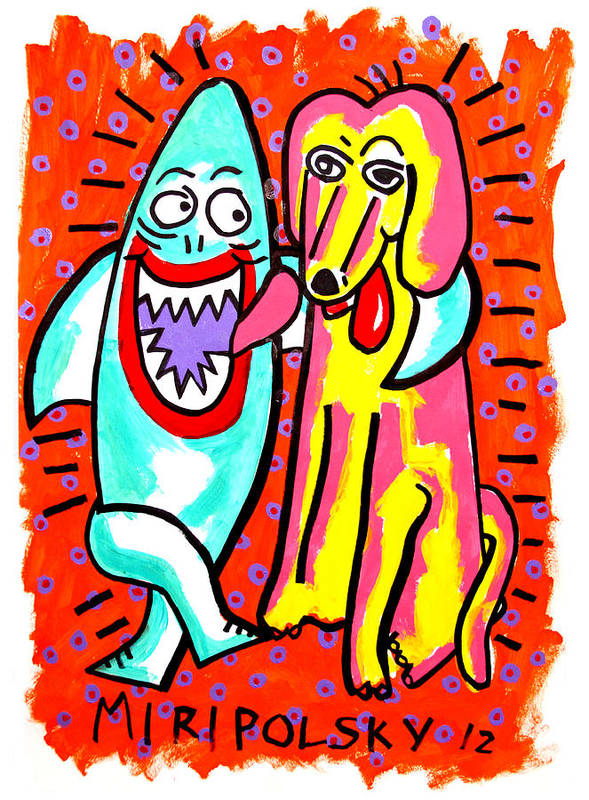 Sharks Art Print featuring the painting Sharks In The City - Pals by Andre Miripolsky