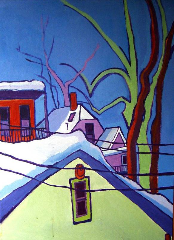 Buildings Print featuring the painting Sheffield Winter by Debra Bretton Robinson