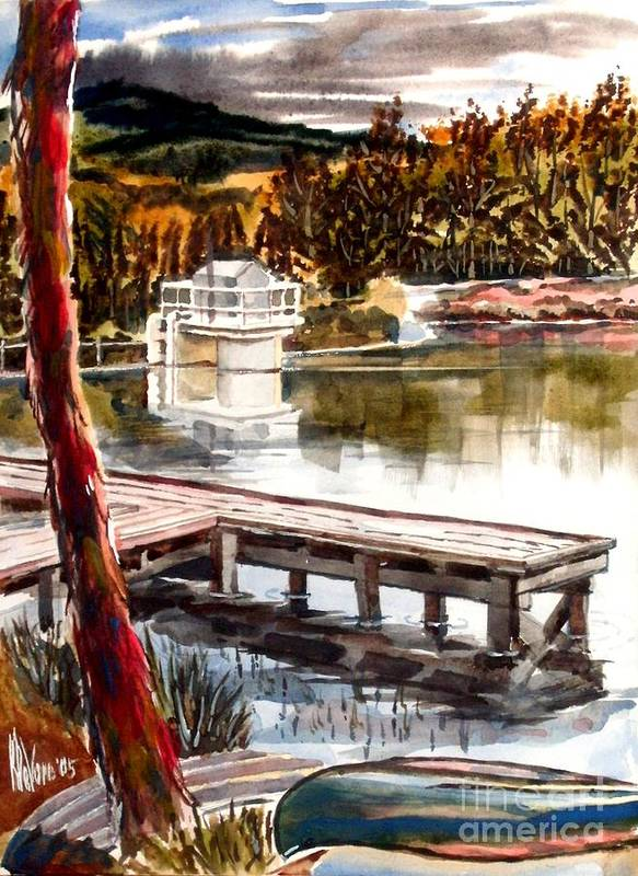Shepherd Mountain Lake Bright Print featuring the painting Shepherd Mountain Lake Bright by Kip DeVore