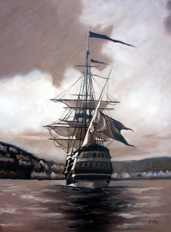 Pirate Ship Print featuring the painting Ship In Sepia by Janet King